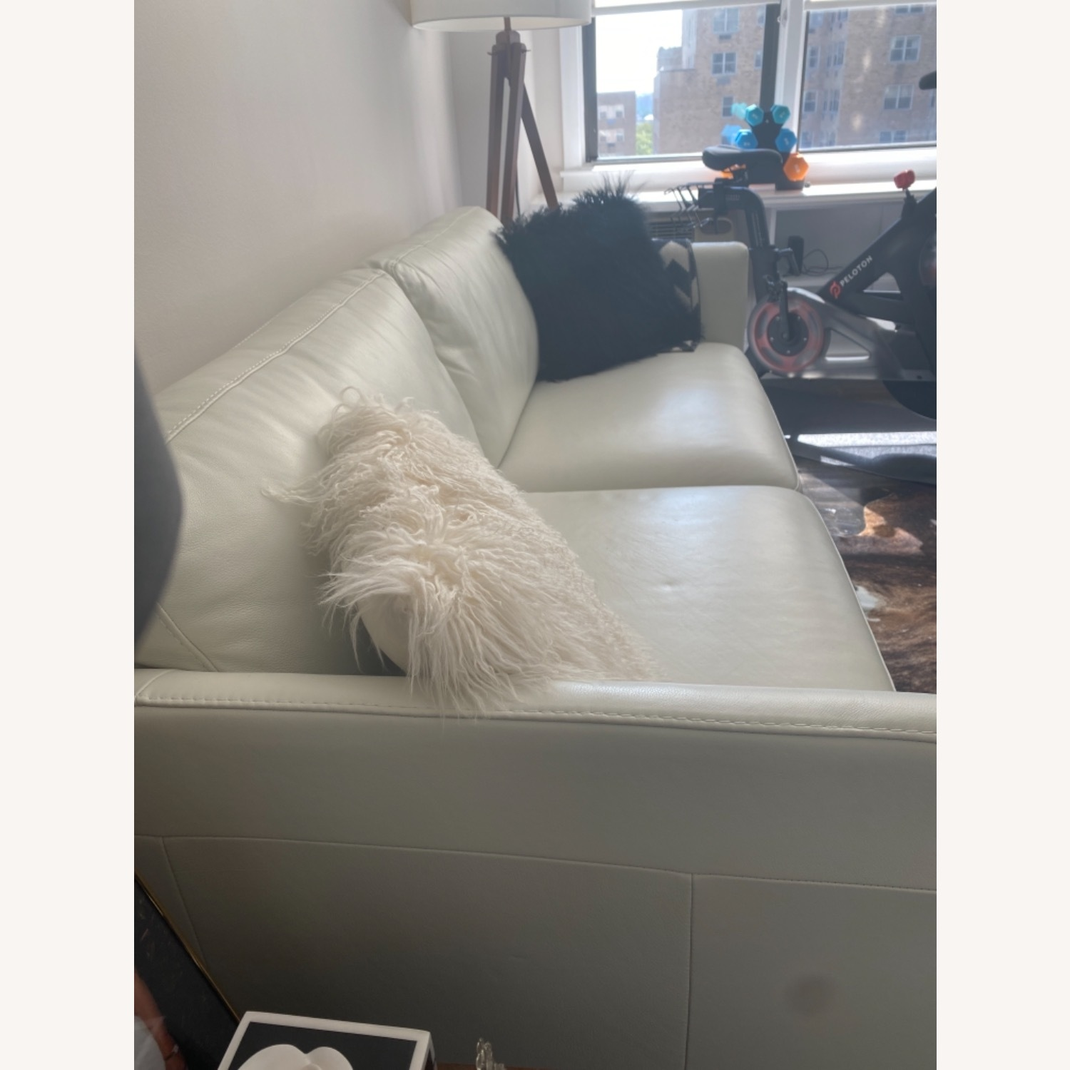 Bloomingdale's White Leather Sofa - image-4