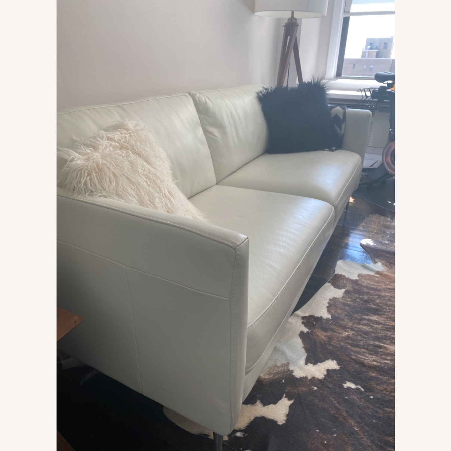 Bloomingdale's White Leather Sofa - image-3