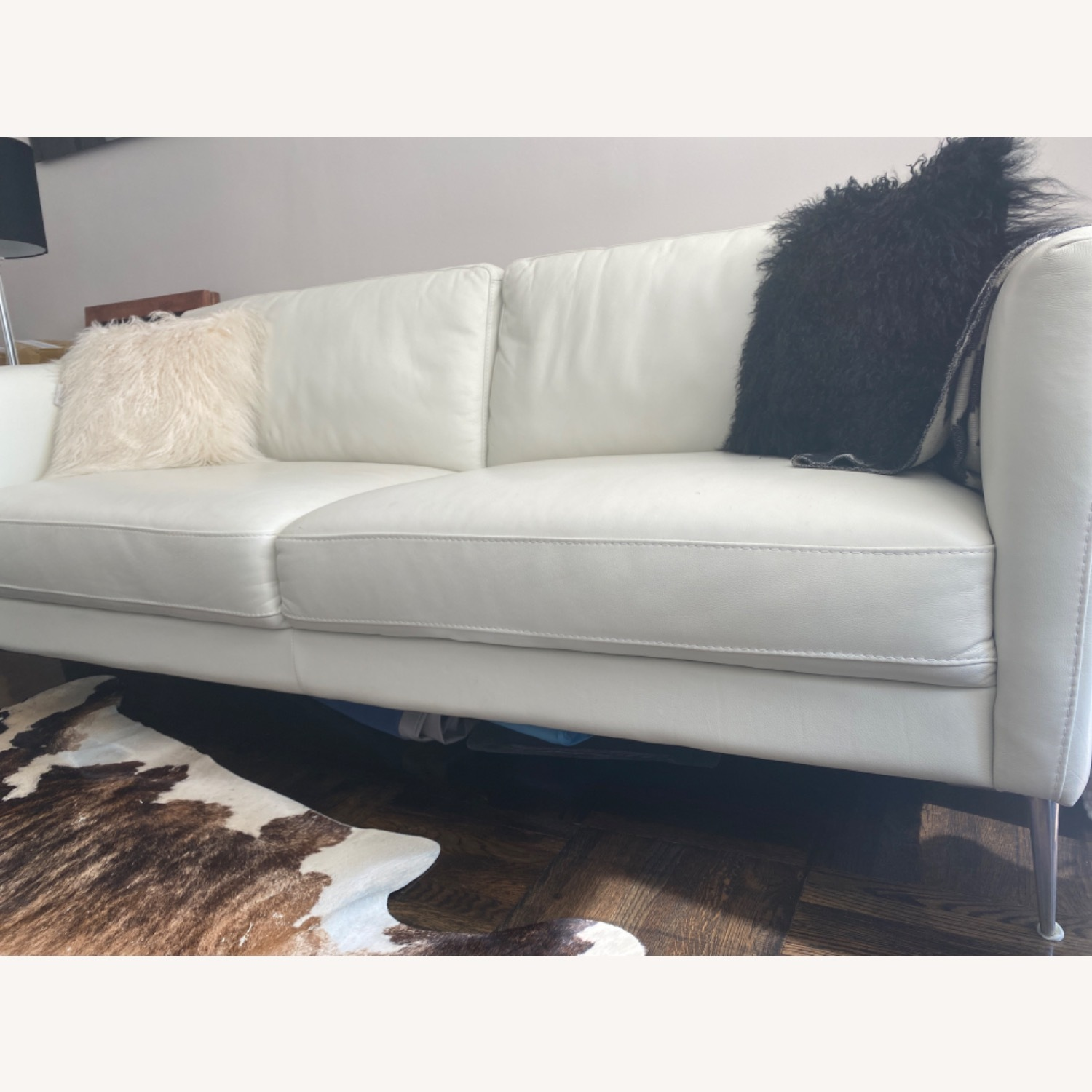 Bloomingdale's White Leather Sofa - image-5