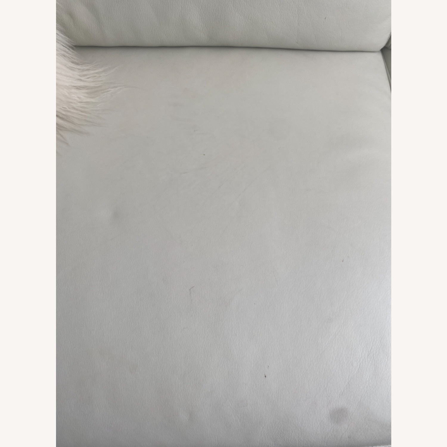 Bloomingdale's White Leather Sofa - image-2