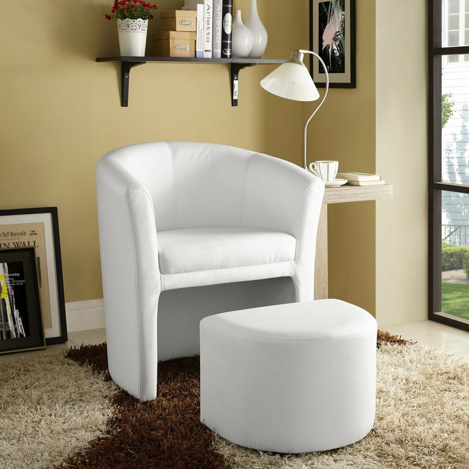 Armchair & Ottoman In White Color Upholstery - image-4