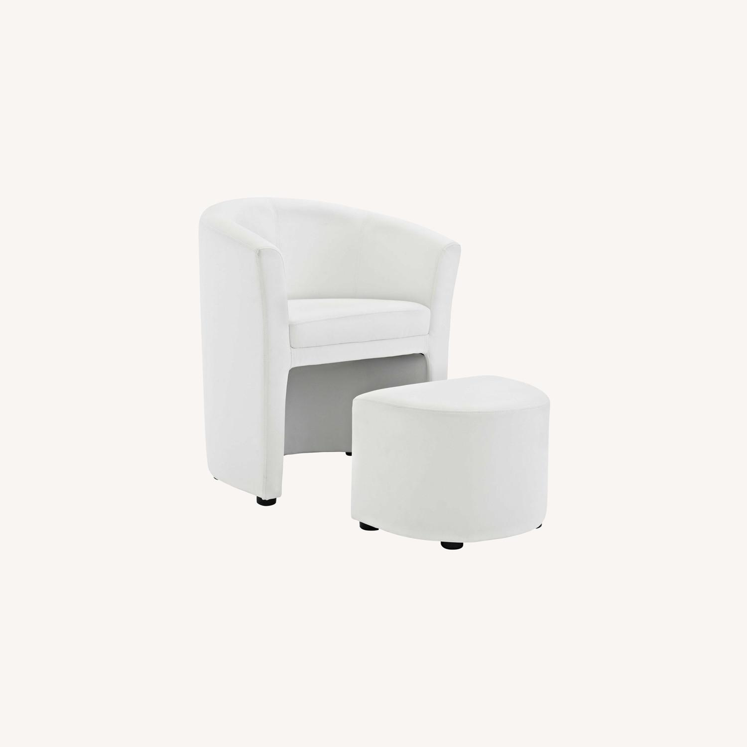 Armchair & Ottoman In White Color Upholstery - image-6