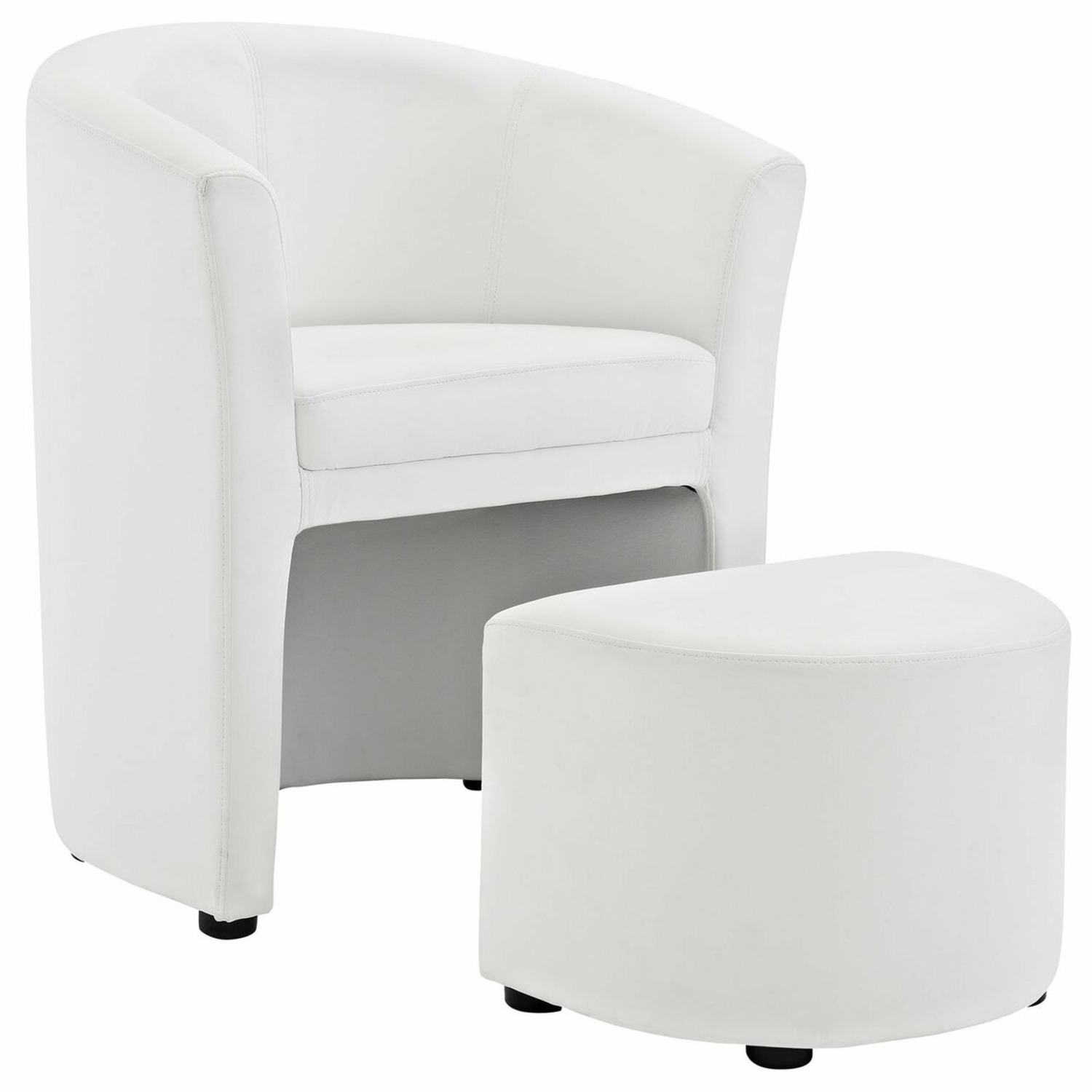 Armchair & Ottoman In White Color Upholstery - image-0
