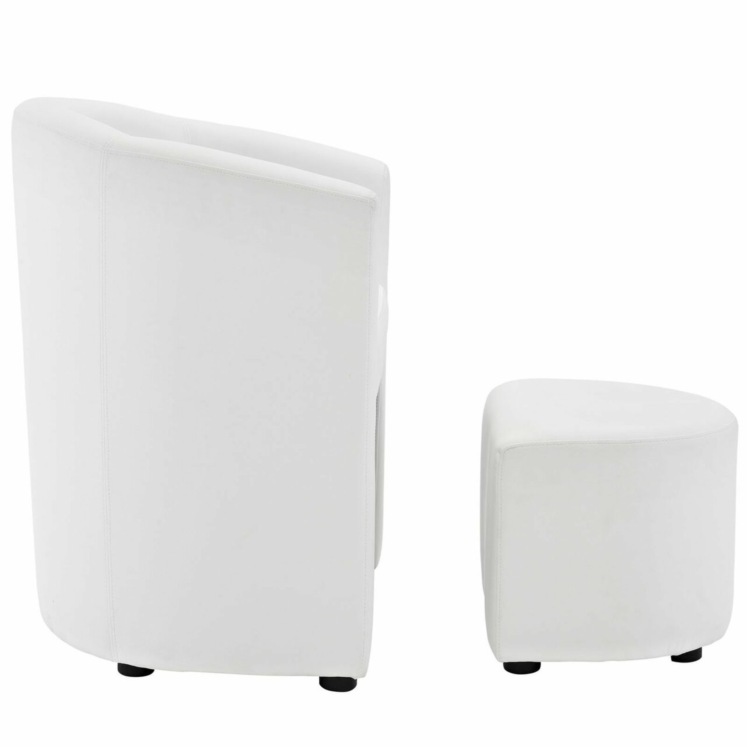 Armchair & Ottoman In White Color Upholstery - image-2