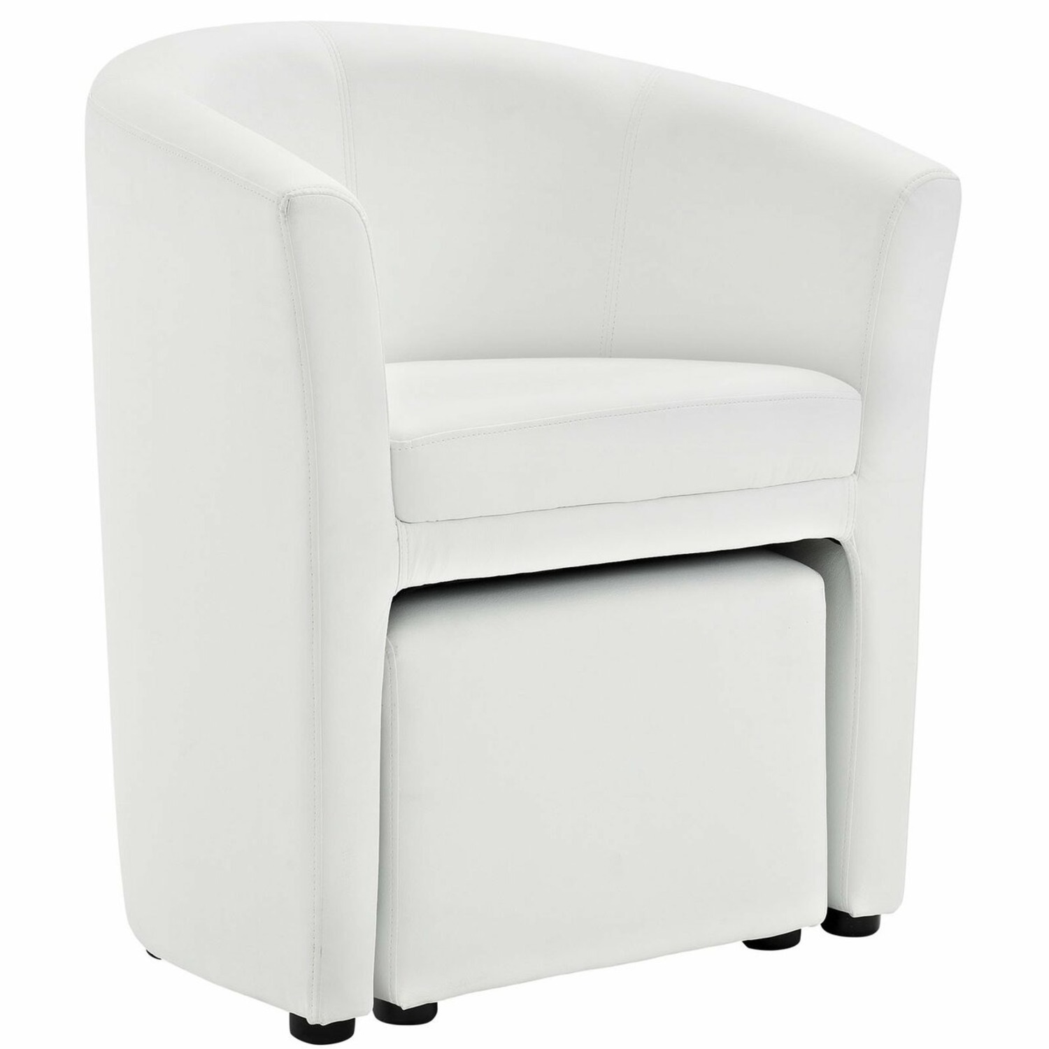 Armchair & Ottoman In White Color Upholstery - image-1