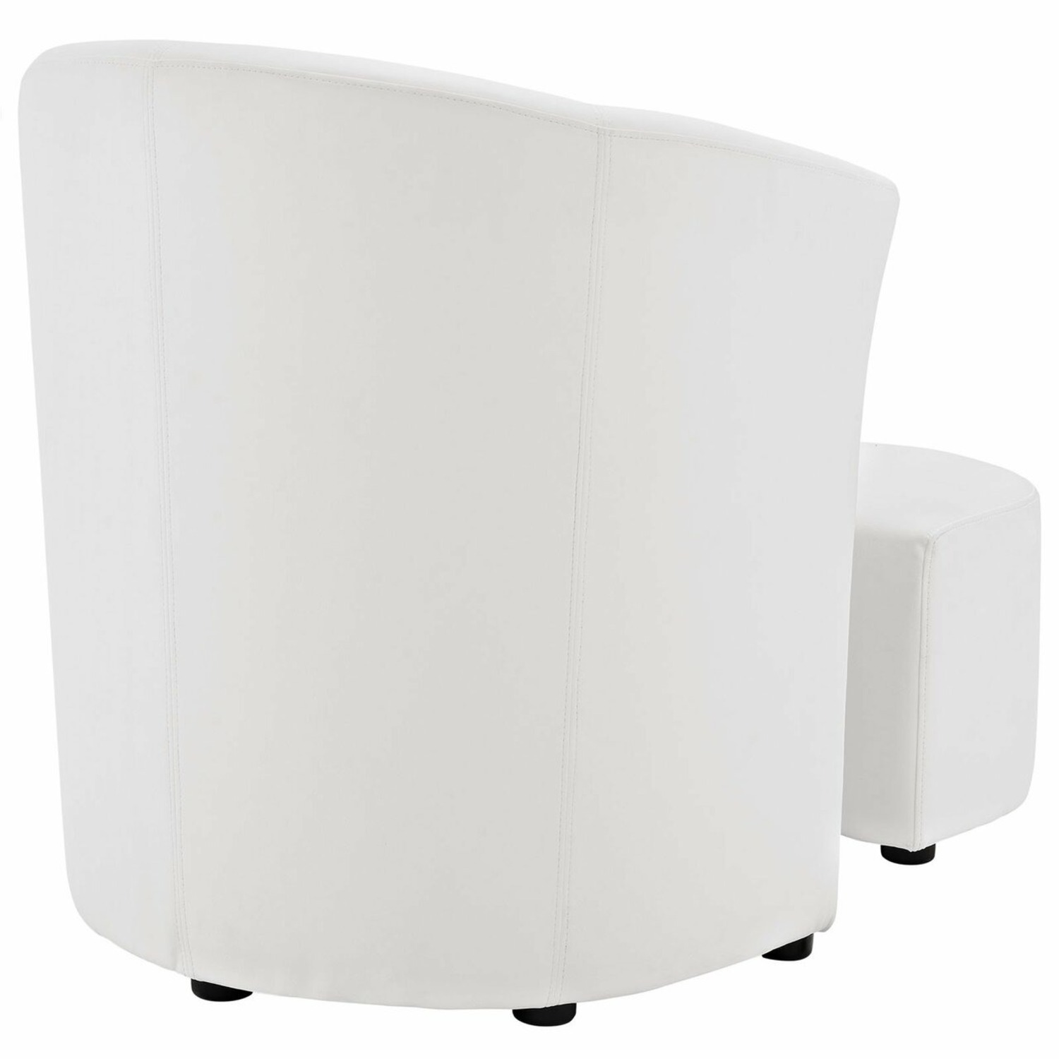 Armchair & Ottoman In White Color Upholstery - image-3