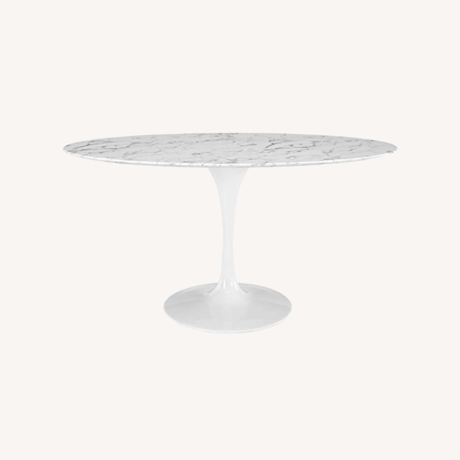 """Mid Century Modern 60"""" Oval Marble Dining Table - image-0"""