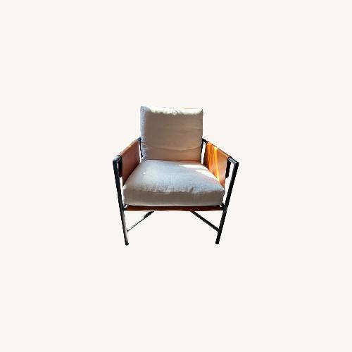 Used Lee Industries Custom Leather Saddle Tan Arm Chairs for sale on AptDeco