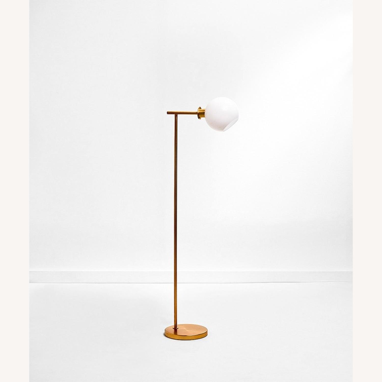 West Elm Metal Frame Glass Globe Lamp - image-1