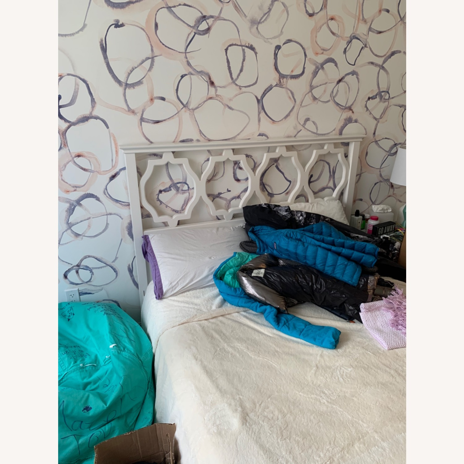 Shabby Chic Full Bed with Attached Headboard - image-1