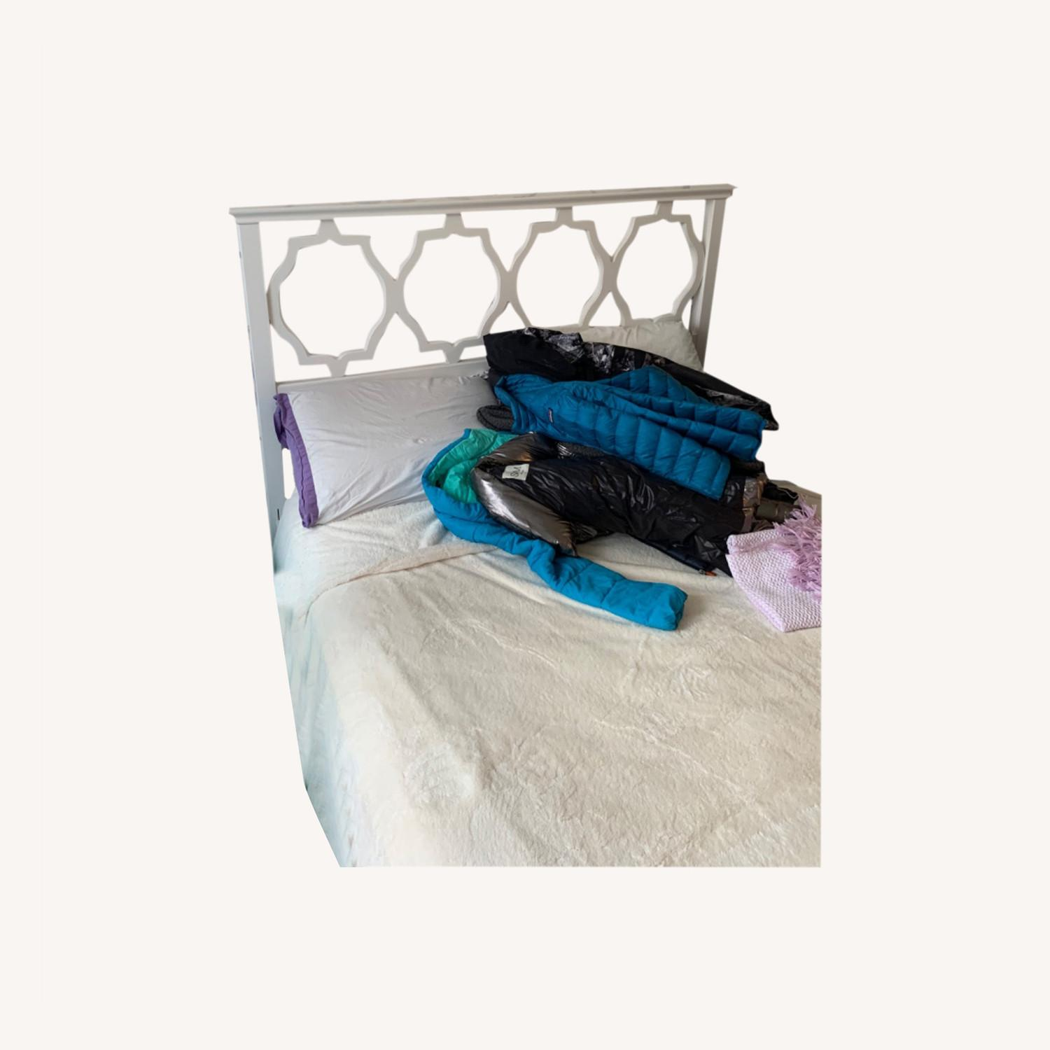 Shabby Chic Full Bed with Attached Headboard - image-0