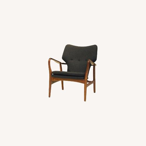 Used INGRID Walnut Grey Fabric Lounge Chair for sale on AptDeco