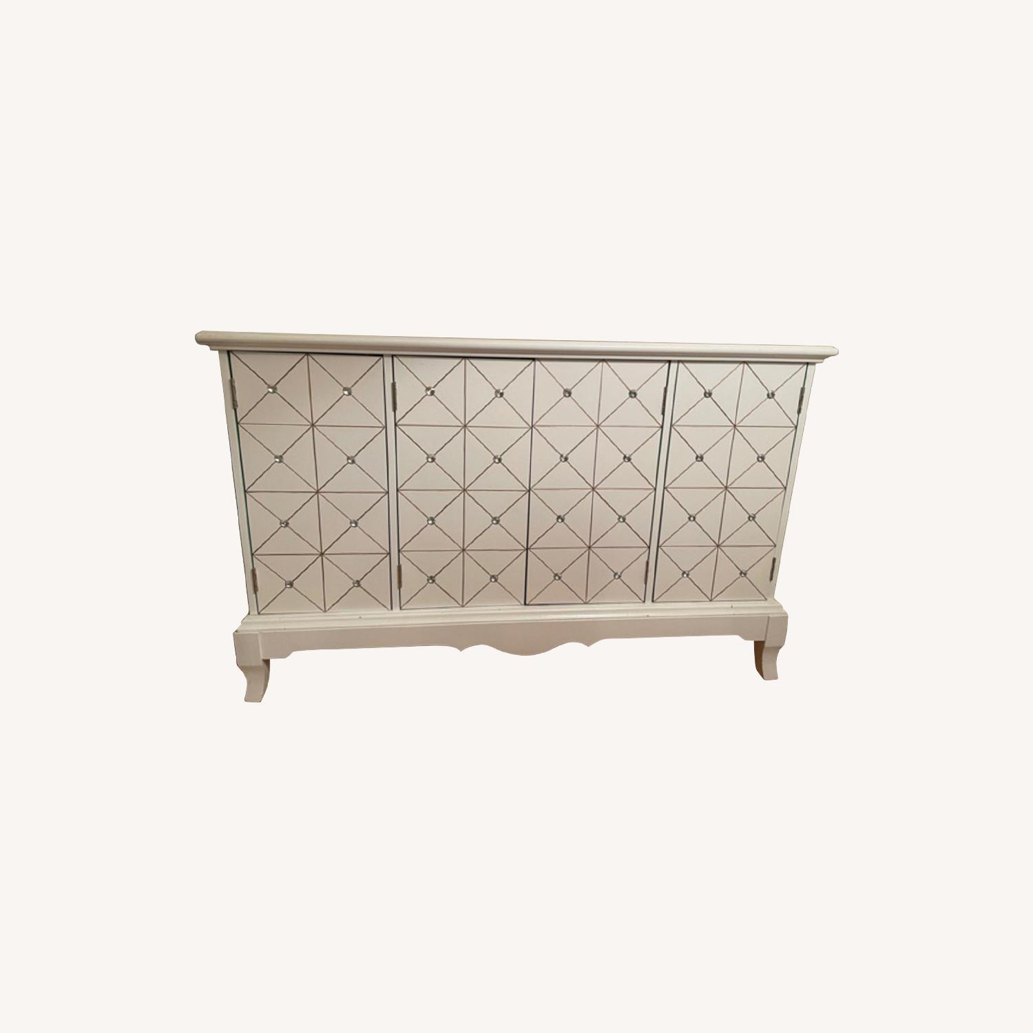 White and Gold Hutch/Media Cabinet - image-0