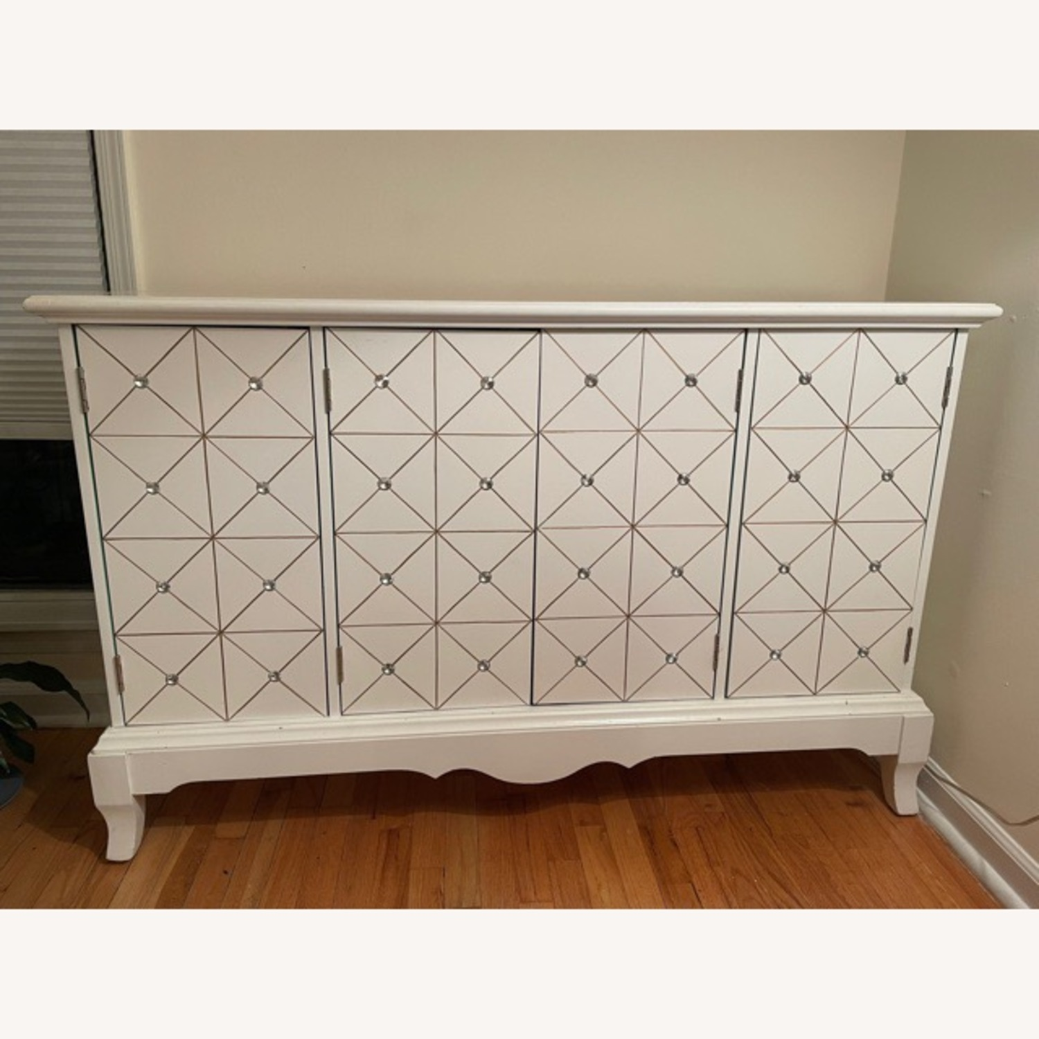 White and Gold Hutch/Media Cabinet - image-1