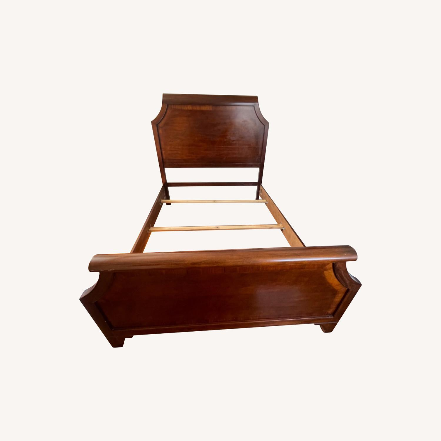 Sold Wood Inlaid Queen Size Bed - image-0
