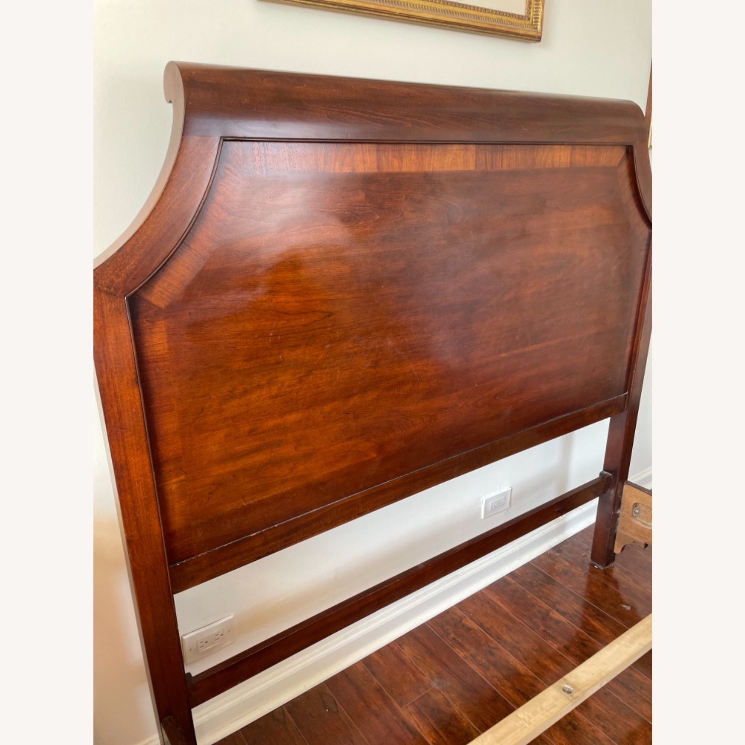 Sold Wood Inlaid Queen Size Bed - image-9