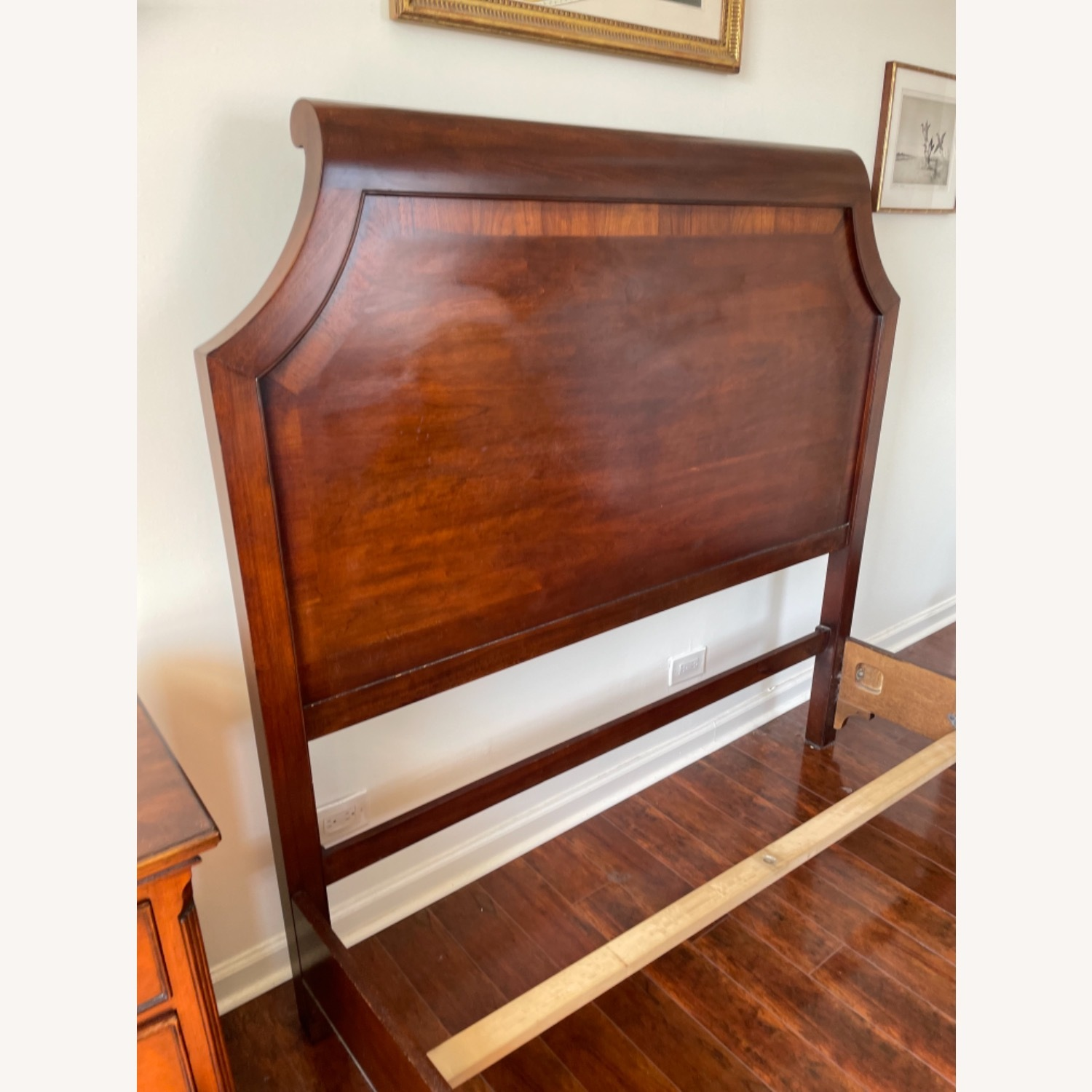 Sold Wood Inlaid Queen Size Bed - image-10