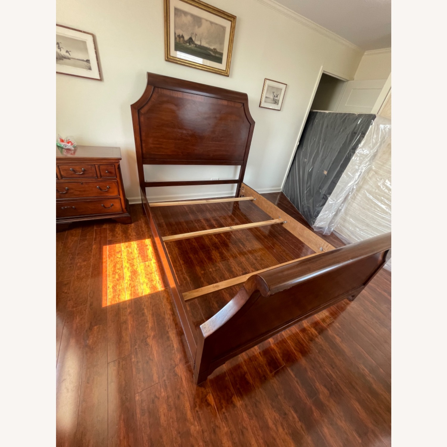 Sold Wood Inlaid Queen Size Bed - image-1