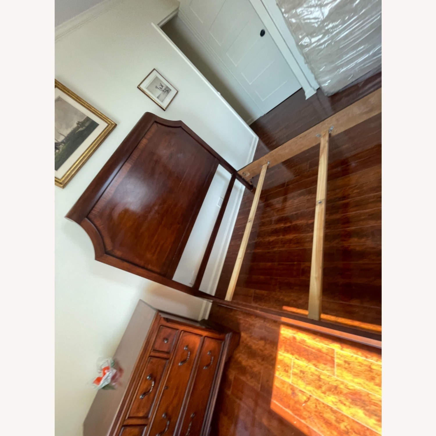 Sold Wood Inlaid Queen Size Bed - image-12