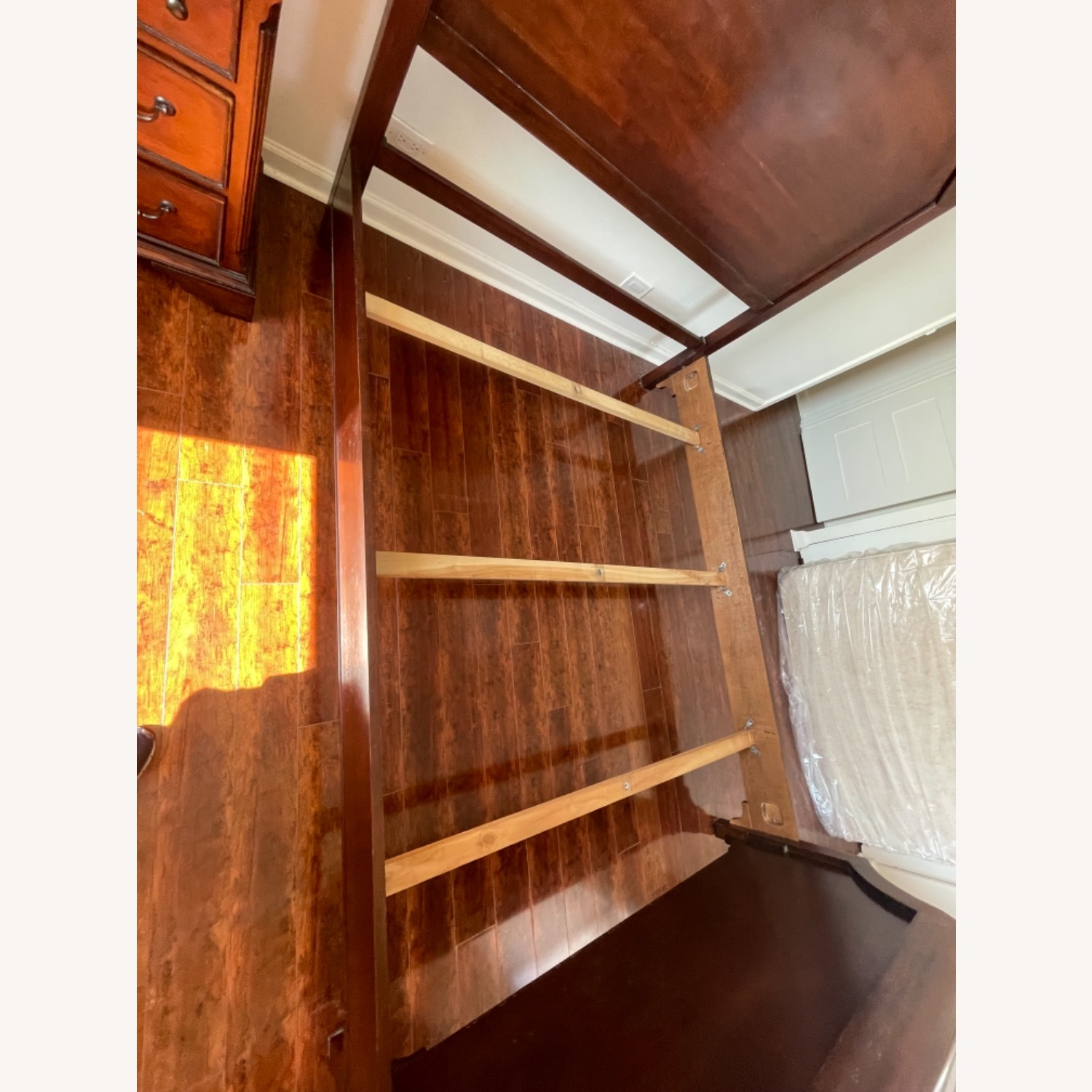 Sold Wood Inlaid Queen Size Bed - image-13