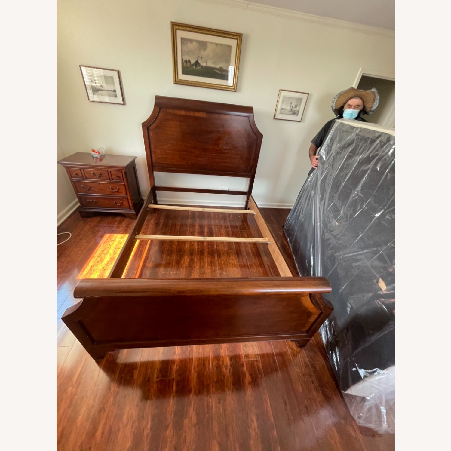 Sold Wood Inlaid Queen Size Bed - image-3