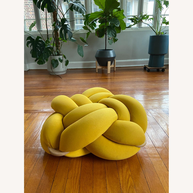 M Turmeric Yellow Cotton Knot Floor Cushion - image-2