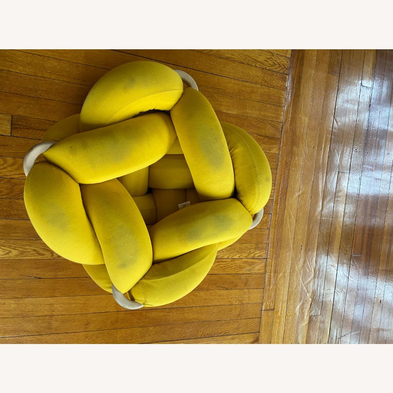 M Turmeric Yellow Cotton Knot Floor Cushion - image-3