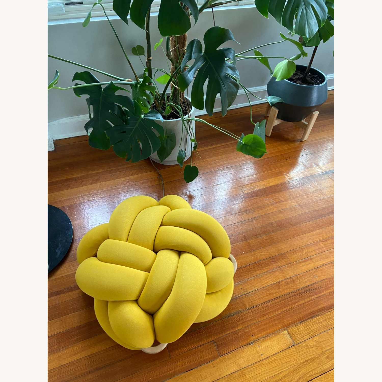 M Turmeric Yellow Cotton Knot Floor Cushion - image-4