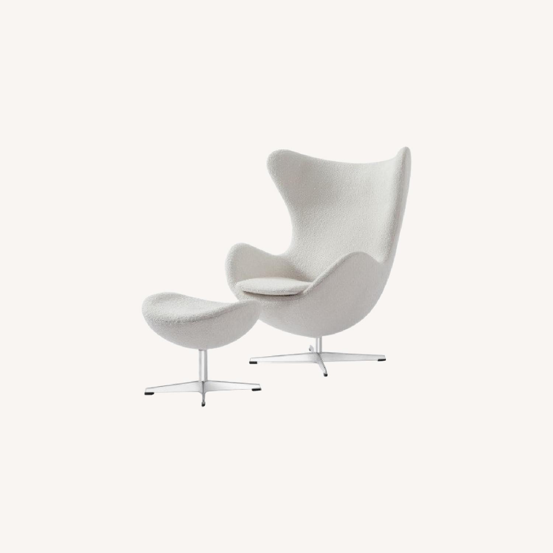 Kardiel Premium Twill Amoeba Chair and Ottoman - image-0