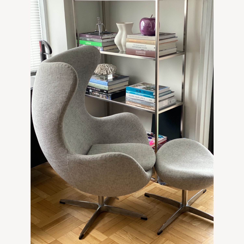 Kardiel Premium Twill Amoeba Chair and Ottoman - image-2