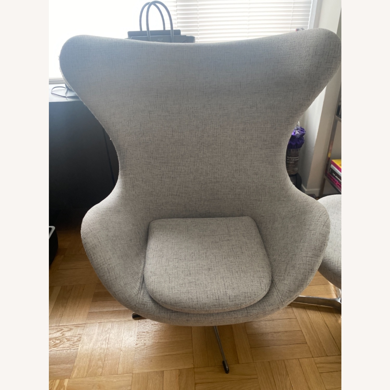 Kardiel Premium Twill Amoeba Chair and Ottoman - image-4