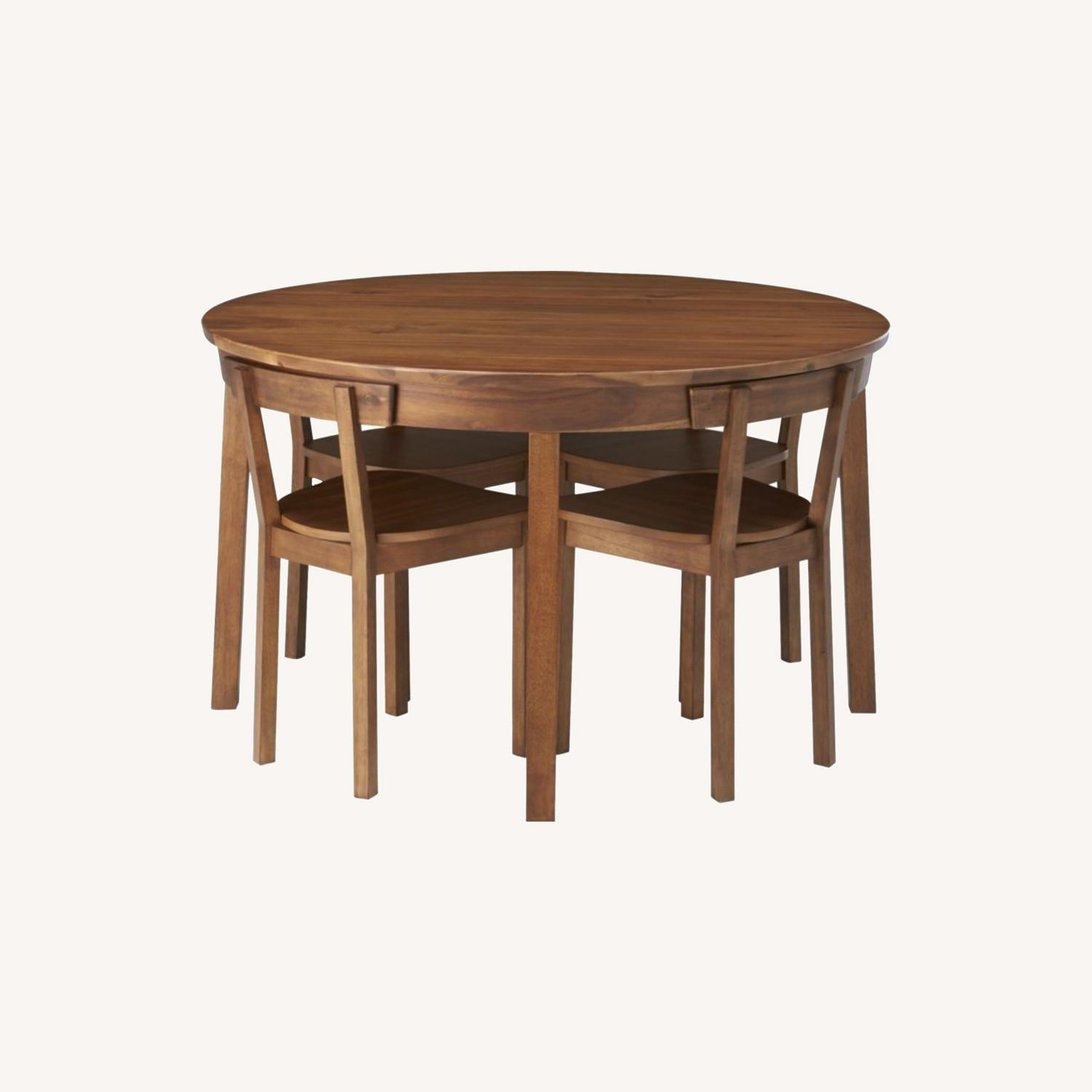 CB2 Round Dining Table w/ 4 Inlaid Chairs - image-0