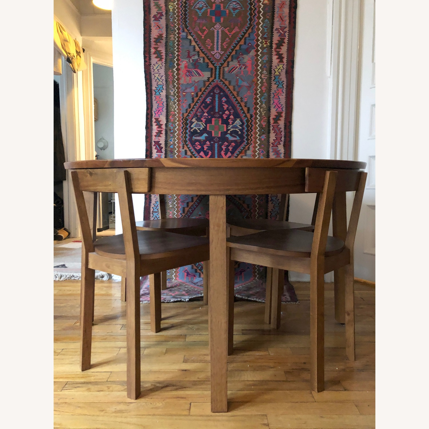 CB2 Round Dining Table w/ 4 Inlaid Chairs - image-3