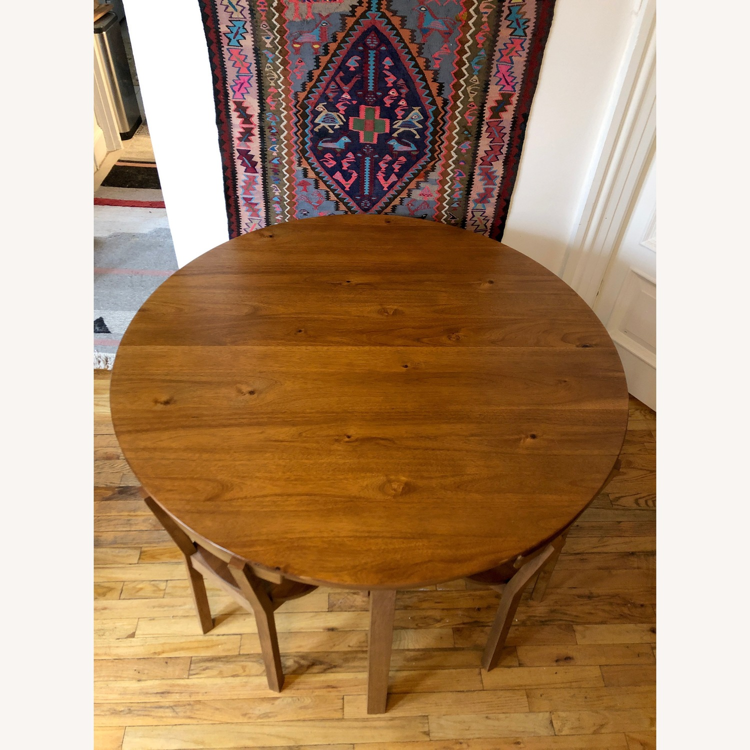 CB2 Round Dining Table w/ 4 Inlaid Chairs - image-4