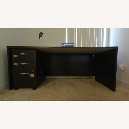 Used Mocha Cherry Credenza Desk and Mobile File Cabinet for sale on AptDeco