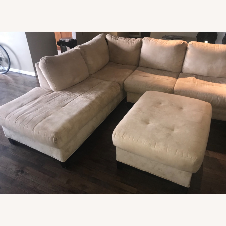 Raymour & Flanigan 3 Piece Microfiber Sectional Sofa - image-3