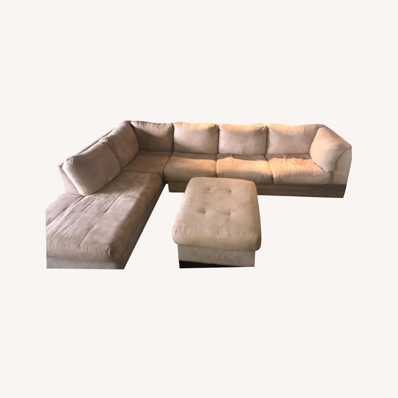 Raymour & Flanigan 3 Piece Microfiber Sectional Sofa - image-0