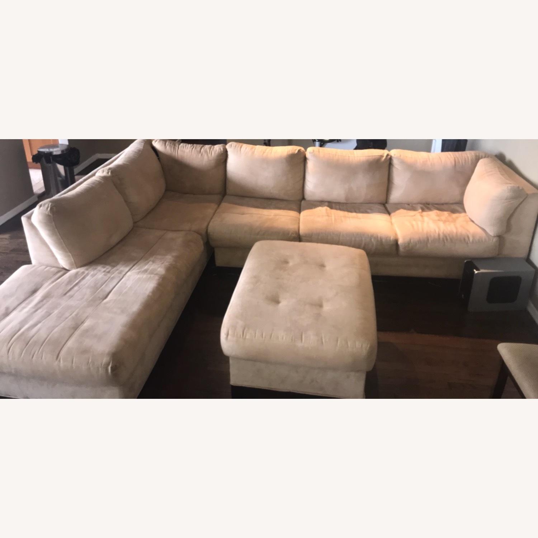 Raymour & Flanigan 3 Piece Microfiber Sectional Sofa - image-1