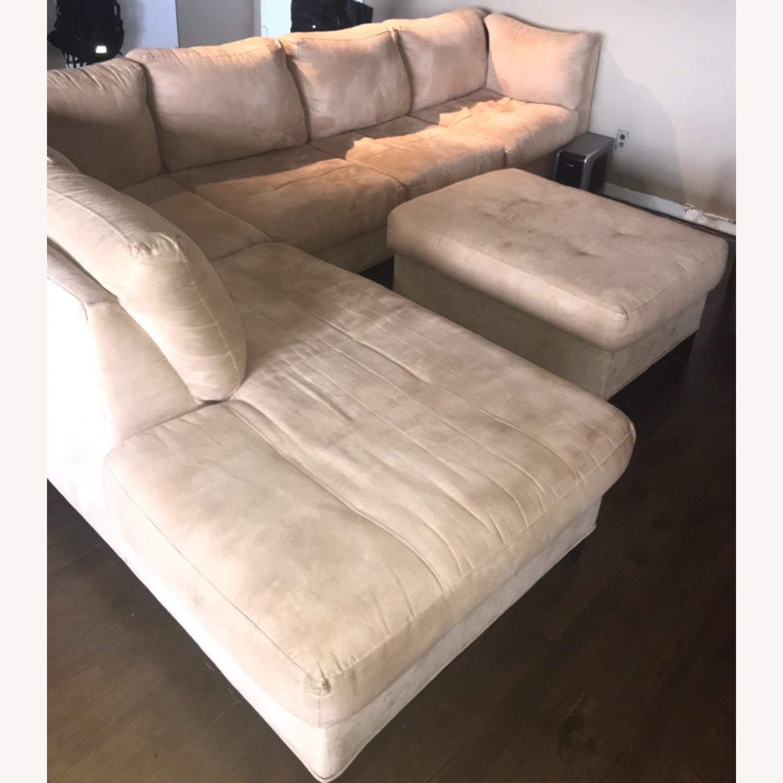Raymour & Flanigan 3 Piece Microfiber Sectional Sofa - image-2