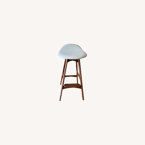 Used Organic Modernism White Saddle Stool Set for sale on AptDeco