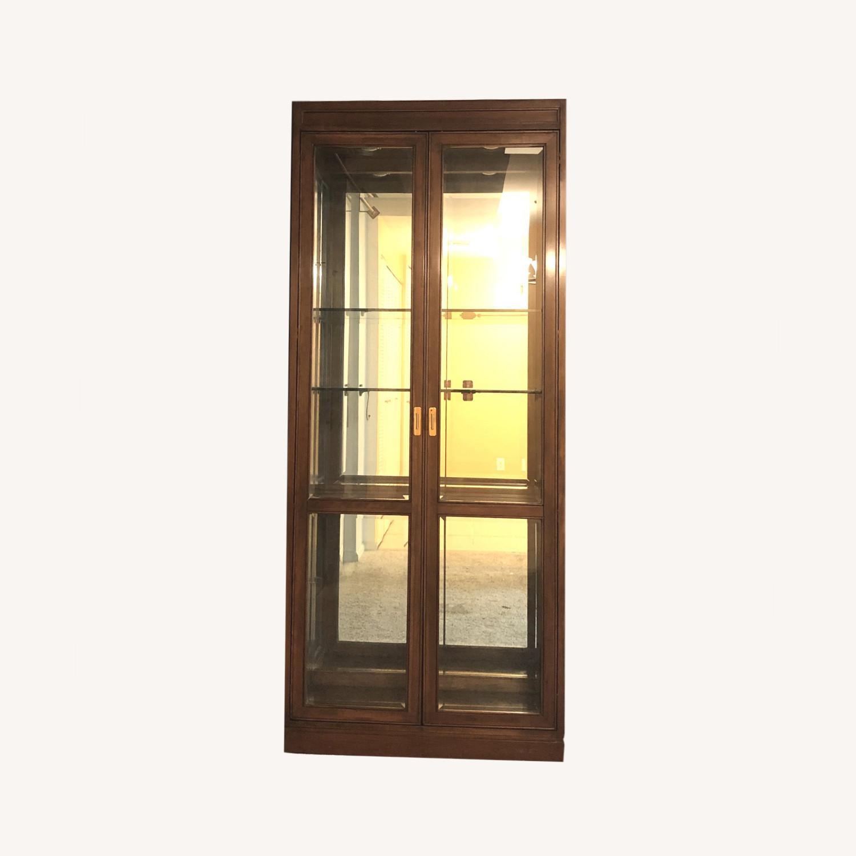 Vintage Ethan Allen Wood & Glass Cabinet, 5 Shelf - image-0