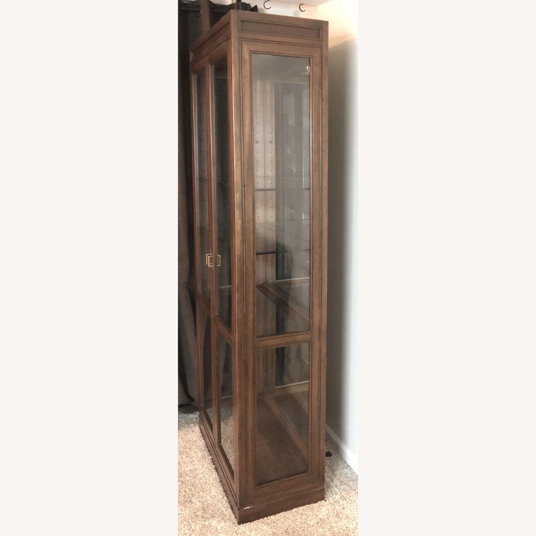 Vintage Ethan Allen Wood & Glass Cabinet, 5 Shelf - image-8