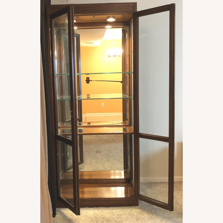 Vintage Ethan Allen Wood & Glass Cabinet, 5 Shelf - image-2