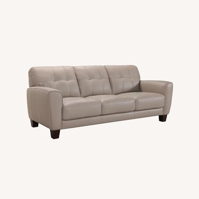 "Kaleb 84"" Tufted Leather Sofa - image-0"