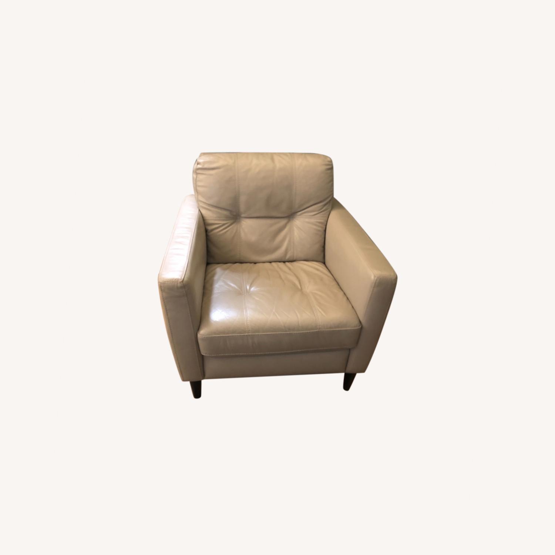 Kaleb Tufted Leather Furniture Armchair - image-0