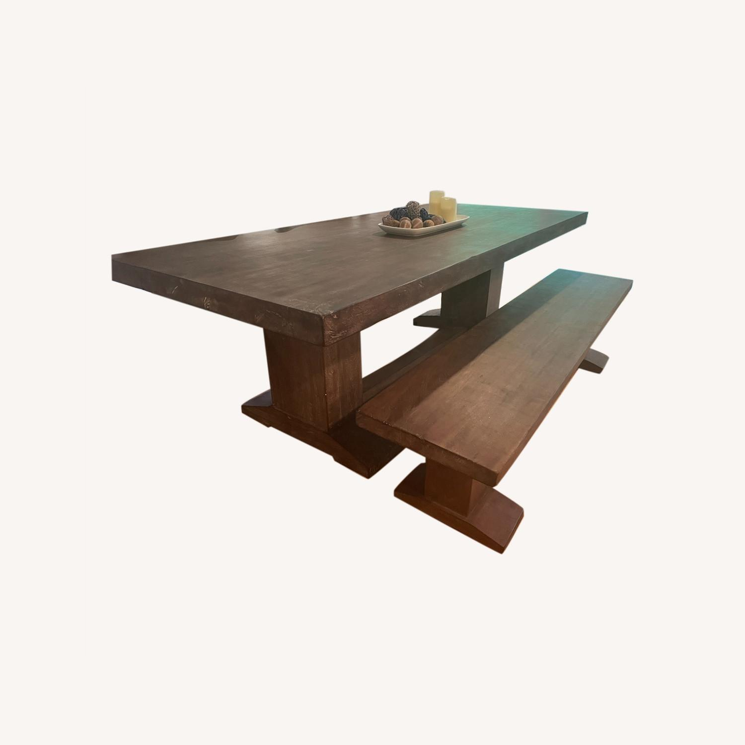 94-Inch Solid Acacia Wood Dining Table & Bench - image-0