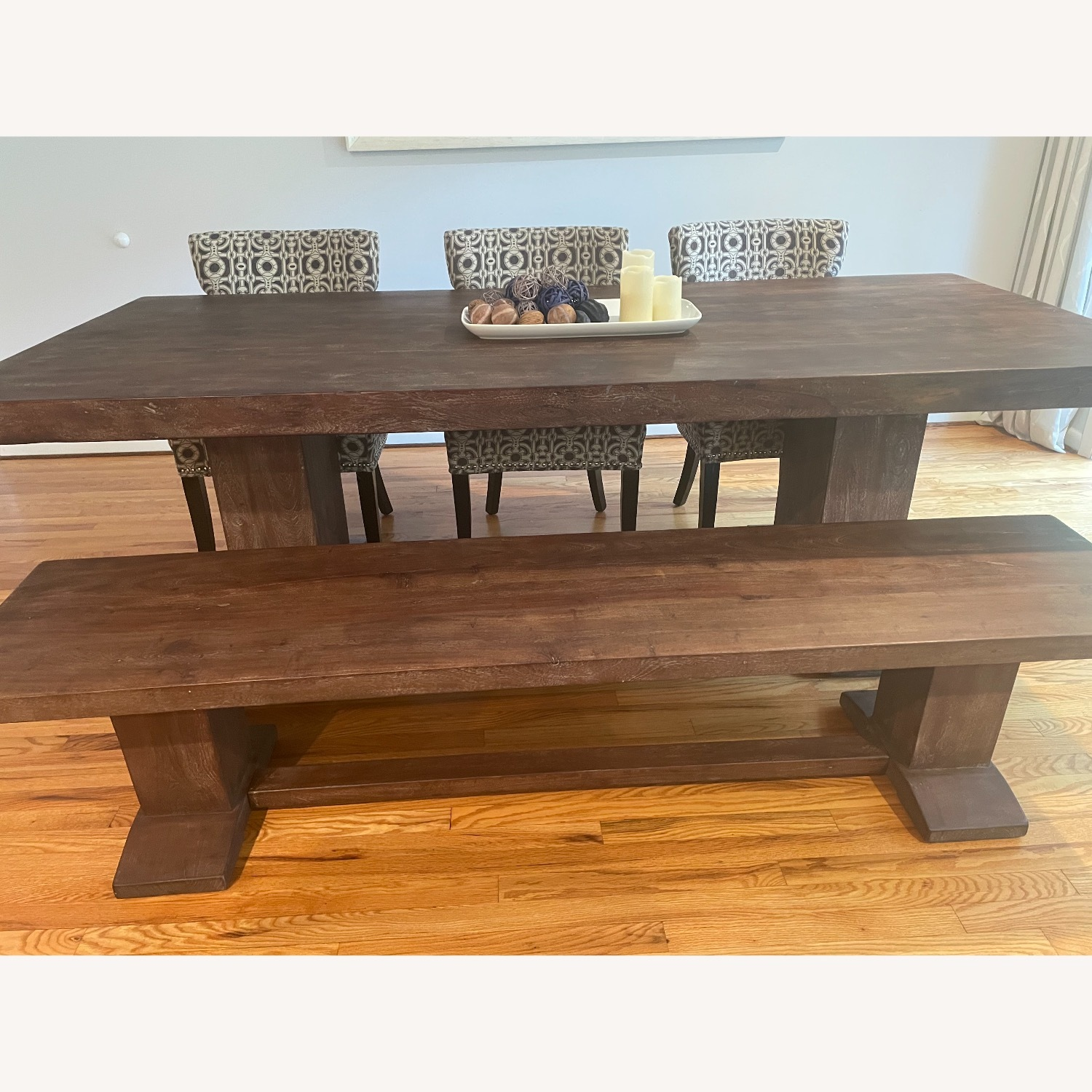 94-Inch Solid Acacia Wood Dining Table & Bench - image-2
