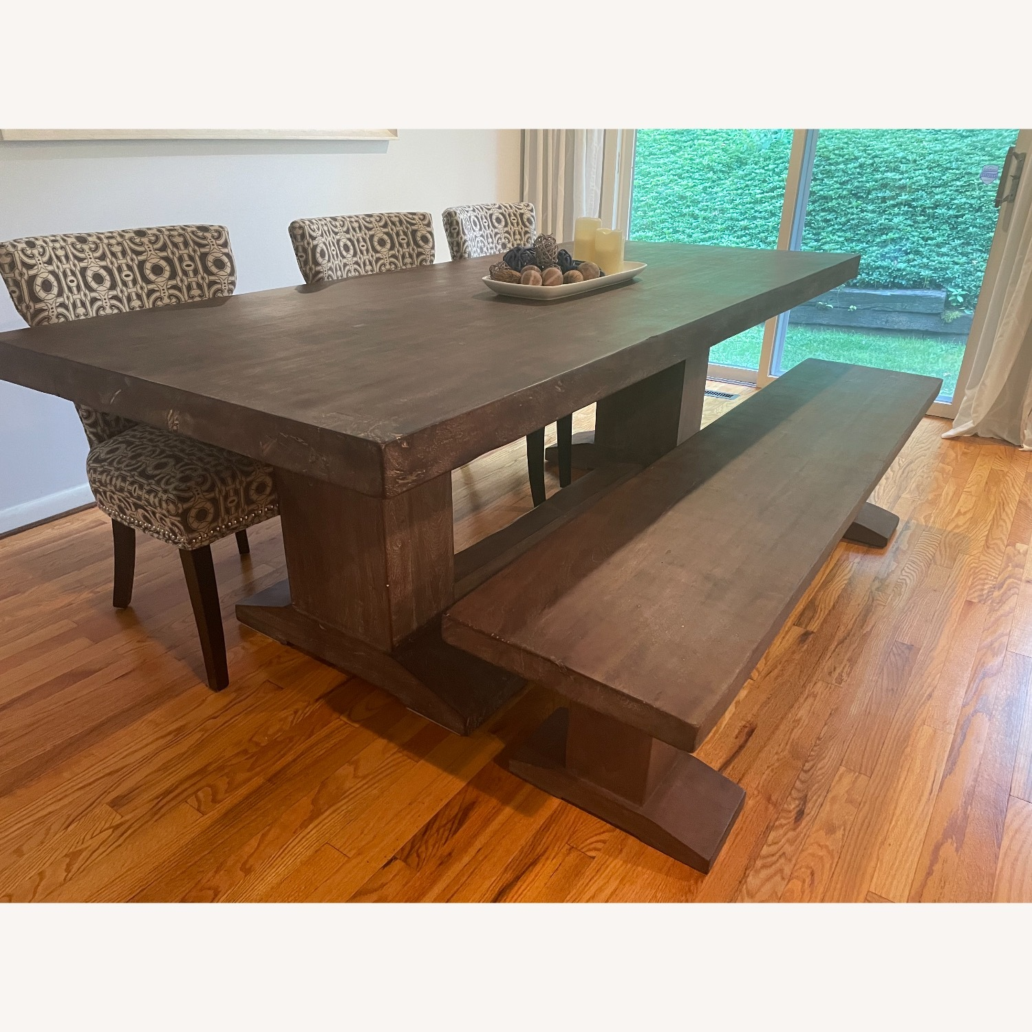 94-Inch Solid Acacia Wood Dining Table & Bench - image-3