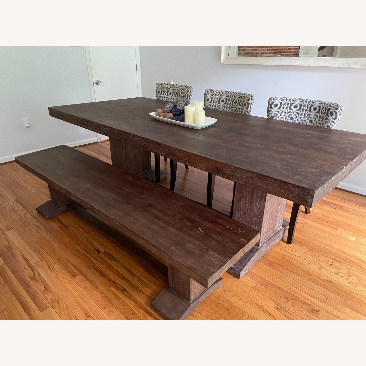 94-Inch Solid Acacia Wood Dining Table & Bench - image-1