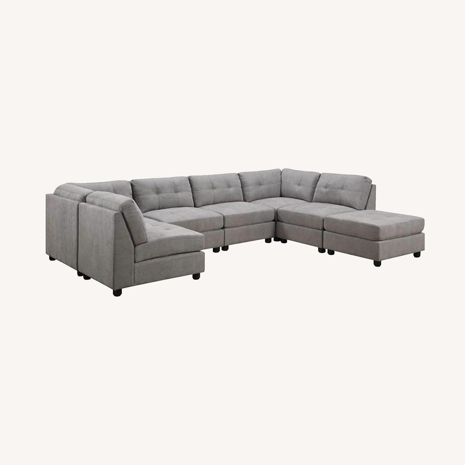 7-Piece Sectional In Dove Chenille Fabric - image-8